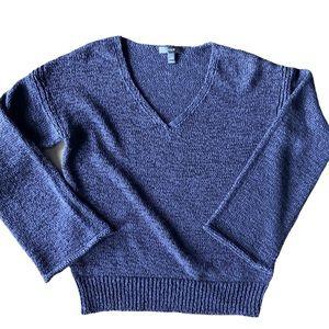J. Crew Crepe Knit Woven V-Neck Navy Sweater